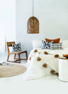 Hot selling Beautiful Moroccan Pompom Blanket, Pom Poms, Boho Blanket, Bed Cover, White blanket with Beige Pompom Bohemian Bedroom Decor, Bohemian Interior, Home Interior, Home Decor Bedroom, Bedroom Ideas, Modern Bedroom, Bedroom Inspiration, Bedroom Inspo, Bedroom Furniture