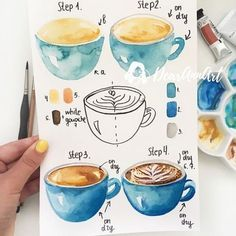 Zeichnen Ideen mit detaillierten Anleitungen Learn to draw cappuccino, instructions in four steps, painting ideas for beginners and advanced Watercolor Food, Watercolor Drawing, Painting & Drawing, Watercolor Paintings, Watercolors, How To Watercolor, Diy Painting, Coffee Painting, Gouache Painting