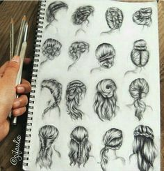 57 ideas for drawing hair braid sketches fashion illustrations Drawing Techniques, Drawing Tips, Drawing Sketches, Sketching, Sketch Art, Drawing Ideas, How To Draw Braids, How To Draw Hair, Cute Drawings