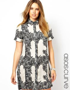 ASOS CURVE Shirt Dress In Paisley Grid Print