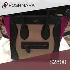 New Celine micro luggage tote Brand new with gorgeous fuscia sides Celine Bags Crossbody Bags