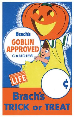 "1960s Halloween sign ""Goblin Approved Candies"""
