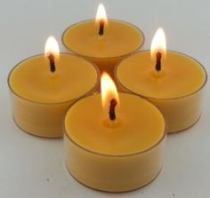 6 ORGANIC Beeswax Tea Light Candle Clear by CandleBakeryCandles, $5.50