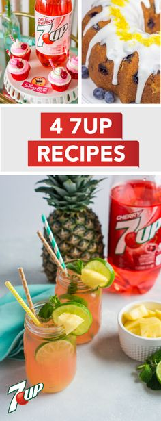 Kick your spring party up a notch with these 4 7UP Recipes! From Sparkling Blueberry Lemonade Mojitos and 7UP Cherry Cupcakes to Lemon Blueberry 7UP Pound Cake and Cherry Pineapple Mojito, there are so many ways to bring the flavor this season. Each homemade treat uses 7UP® or 7UP® Cherry to make your get-together the best yet. Pick up all the ingredients you'll need at ShopRite. Holiday Drinks, Holiday Recipes, 7up Recipe, Appetizer Recipes, Dessert Recipes, Appetizers, Liquor Cake, Yummy Drinks, Yummy Food