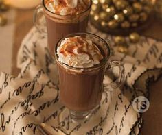 These yummy Spicy Caramel Hot Cocoa Cocktails are perfect for cool winter nights or the holidays!