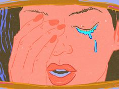Illustration of a crying woman's face, reflected in her car's rearview mirror