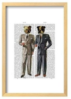 Art.com Bulldogs In Suits By Fab Funky Framed Poster