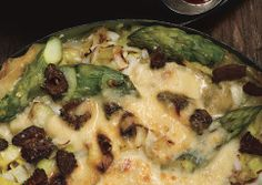 asparagus, leek, and morel lasagna - another fabulous bon appetit recipe!    (even without mushrooms if you have a picky fella around!)