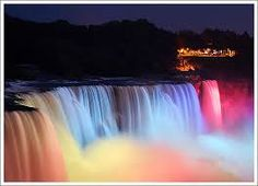 This is Niagara Falls. It is the tallest waterfall in the world and it is located in Canada. This is Niagara at night.