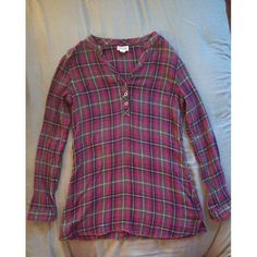 Fuchsia and Grey Plaid Long Sleeve Shirt Has cuffed sleeves and metal buttons down the front. Worn, but still in great condition. Converse Tops Tunics