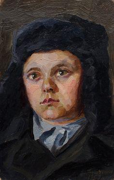 PORTRAIT OF a BOY Mid Century Original Oil by ArtNostalgie on Etsy