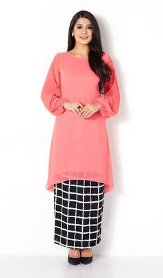 First Lady mix plaid plain modern baju kurung