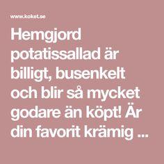 Hemgjord potatissallad är billigt, busenkelt och blir så mycket godare än köpt! Är din favorit krämig potatissallad eller dressad i en örtig vinägrett? Halloumi, Flat Iron, Guacamole, Salsa, Hair Iron, Salsa Music