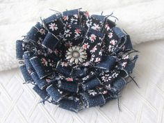 Denim Fabric Flower Fabric Corsage Floral Pin by UrbanDaisyDesign,