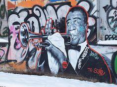 Louis Armstrong graffiti in Berlin-Kreuzberg