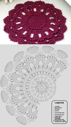 How to Crochet a Puff Flower Crochet Mat, Crochet Carpet, Crochet Mandala Pattern, Crochet Symbols, Crochet Circles, Crochet Diagram, Crochet Stitches Patterns, Crochet Round, Crochet Home