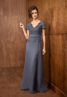 This A-line dress with V neckline is a beautiful and flexible gown suitable for any kind of special occasion. A layer of beautiful, floral lace covers wraps the bodice of this silky chiffon dress.