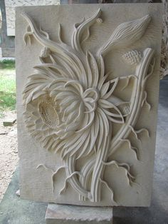 stone carving  flower up close