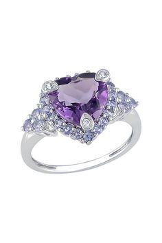 10K White Gold Diamond & Amethyst Accented Tanzanite Heart Ring - 0.015 ctw