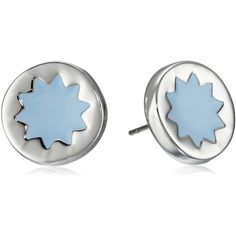 House of Harlow 1960 Sunburst Stud Earrings ($30) ❤ liked on Polyvore featuring jewelry, earrings, silver tone earrings, blue jewelry, house of harlow 1960, blue enamel earrings and blue enamel jewelry