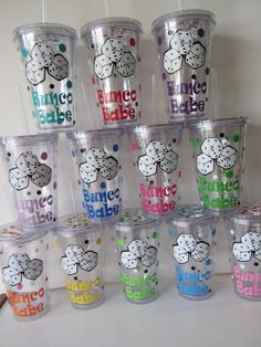 Bunco acrylic tumblers set of 12 perfect for by DottedDesigns Bunco Snacks, Bunco Game, Bunco Party, Bunco Prizes, Party Favors, Bunco Themes, Bunco Ideas, Party Ideas, Game Ideas