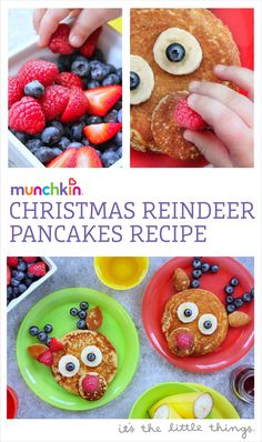 Christmas morning Reindeer Pancakes made for kids and toddlers. An easy recipe for the whole family to enjoy. Christmas Recipes For Kids, Holiday Snacks, Christmas Snacks, Christmas Brunch, Xmas Food, Toddler Christmas, Christmas Breakfast, Christmas Cooking, Breakfast For Kids
