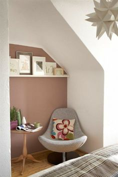 Little reading nook with accent color and gallery wall.  Are you looking for one of a kind art photo prints to decorate your interiors? Visit bx3foto.etsy.com