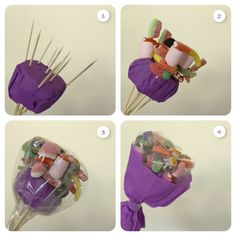 Ferrero bouquet for mothers day: Skewer chocolate wrap in film to keep fresh. Food Bouquet, Candy Bouquet, Candy Flowers, Paper Flowers, Chocolate Flowers Bouquet, Candy Arrangements, Edible Bouquets, Sweet Trees, Candy Cakes