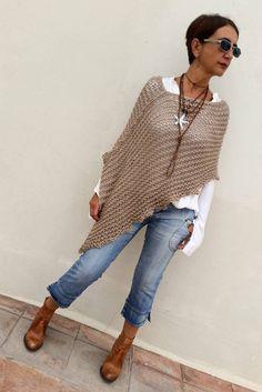 Knit wool poncho women poncho loose knit poncho poncho