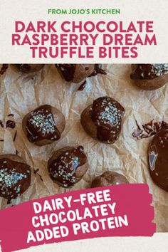 DAIRY-FREE with ADDED PROTEIN, this truffle recipe made with JOJO's Raspberry Dream dark chocolate is perfect for snack time, dessert, and when you need to curb your sweet tooth. Heathy Treats, Healthy Sweets, Just Desserts, Dessert Recipes, Fruit Dessert, Delicious Vegan Recipes, Delicious Desserts, Royal Recipe, Whole 30 Dessert