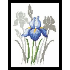 Spring flowers iris digital pattern for cross stich Iris Cross Stitch Tree, Simple Cross Stitch, Cross Stitch Flowers, Counted Cross Stitch Patterns, Modern Cross Stitch Patterns, Cross Stitch Designs, Iris, Embroidery Flowers Pattern, Cross Stitch Pictures