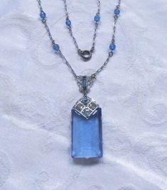 Antique Art Deco Necklace, Cobalt Blue Emerald Cut Pendant, Rhodium Filigree Setting, Beaded Chain  Gorgeous antique art deco necklace with cobalt blue faceted emerald cut ...