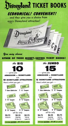 remembering the E rides in these old Disneyland tickets. Living in Calif. when I was years old. I remember using these and we'd always have some tickets left over. This brings back memories. Remember the phrase it's an E ticket event. Disneyland Tickets, Vintage Disneyland, Disneyland Resort, Disneyland History, Disneyland Photos, Disneyland California, Disney Facts, Disney Love, Disney Magic