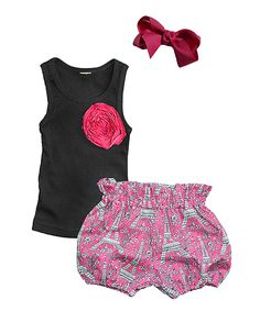 Look what I found on #zulily! Million Polkadots Pink Eiffel Tower Bloomers Set - Infant & Toddler by Million Polkadots #zulilyfinds