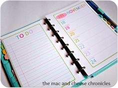 Free Planner Pages from Mac & Cheese chronicles.  LOVE that they're smaller so I can carry these everywhere in my purse! Exactly what I need!!!!