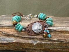 Turquoise Bracelet - Indian Head Pendant - Southwest Bracelet - Native Jewelry - Tribal Bracelet - Beaded Bracelet. $48.00, via Etsy.