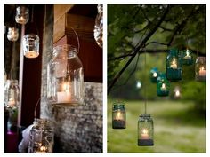 Megan mentioned you wanted lots of candle's...this could be a cute / inexpensive idea for in the trees. You can even use the fake tealight candles that turn on and off....wouldn't have to worry about the flame going out!