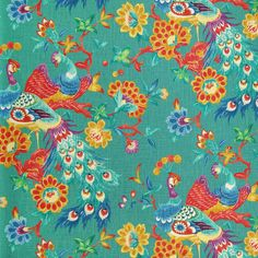 Peacock Blue Floral  Upholstery Fabric