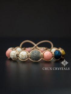 Shamballa Bracelet Rose Flamingo Swarovski by CruxCrystals on Etsy