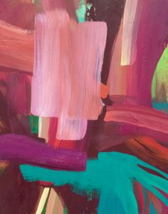 Abstract Paintings by Laurie Close - more berries, pink and teal with hits of chocolate and lime