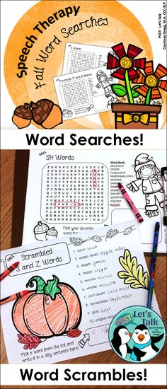 Word searches and scrambles for articulation in speech therapy! Great for speech therapy homework!