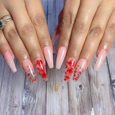 Red Acrylic Nails, Summer Acrylic Nails, Acrylic Nail Designs, Red Nail Designs, Aycrlic Nails, Dry Nails, Pink Nails, Coffin Nails, Rose Nails