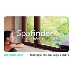 SpaFinder Wellness Gift Card $25/ $50/ $100 - Mail Delivery