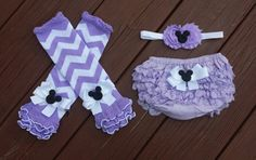 Minnie Mouse Lavender and White Chevron Legwarmers by BottomsNBows