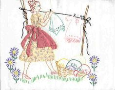 Embroidered and appliqued tea towel.