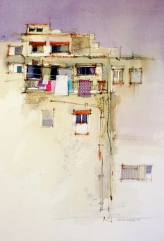 Wall by John Lovett Watercolor painting - Contemporary Art Watercolor Architecture, Watercolor Landscape, Watercolor Sketch, Watercolor Paintings, Watercolours, Acrylic Paintings, Urban Landscape, Landscape Art, Landscape Paintings