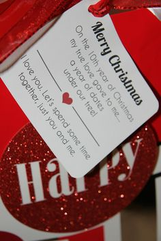 Darling gift idea for hubby! Give a year of date nights. In the bag is ...