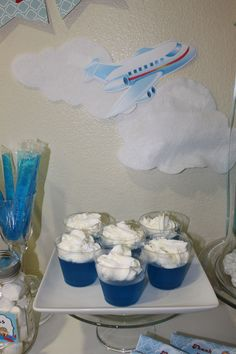 Airplane Party food: Blue jello with whip cream Airplane Party Food, Vintage Airplane Party, Airplane Baby Shower, Vintage Airplanes, Planes Birthday, Planes Party, Planes Cake, 4th Birthday Parties, 1st Boy Birthday