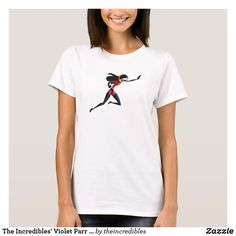 The Incredibles' Violet Parr Disney T-Shirt. Super awesome Disney's The Incredibles superhero designs to personalize as a gift for yourself or friends and family. Wonderful gift ideas for superhero birthdays. Disney T-shirts, Disney Family, Violet Parr, Superhero Design, Baby Tutu, Girl Running, Personalized Products, Cotton Tee, Shirts For Girls