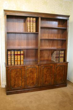 A Burr Elm Deep Cupboard open top Bookcase. 6ft wide 7ft high